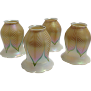 Four Quezal art Glass Shades Signed Feather Pattern