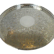 English Round Tray Silver Plate