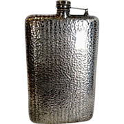 SOLD Large American Hand Hammered Silverplate Flask