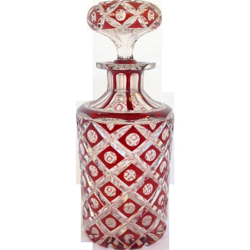 red cut glass cologne bottle from rubylane sold on ruby lane. Black Bedroom Furniture Sets. Home Design Ideas