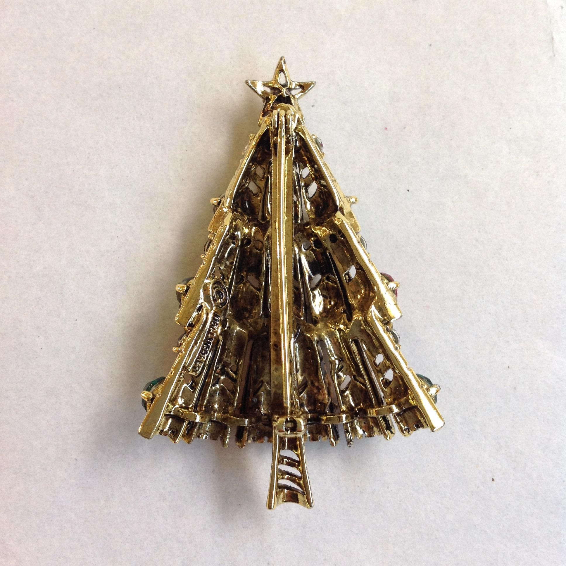 Hollycraft christmas tree pin red green from antiquesofriveroaks on