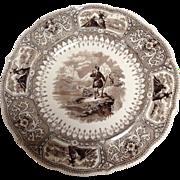 Pair Caledonia Transferware Plates By Adams 19th c Scottish Theme