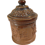 Salt Glaze Stoneware Tobacco Jar - Drinking and Smoking Scenes