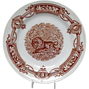 "Thomas Booth & Son ""Madras"" Ironstone Lion Plate"