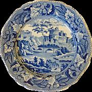 Group of 4 Antique Blue Minton Castle Plates