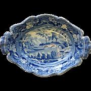 Antique Minton Blue and White Serving Dish with Landscape