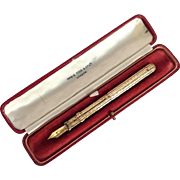 Mabie Todd & Co Gold Combined Dip Pen and Pencil With Presentation Box