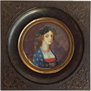 Miniature French Portrait Of A Lady 19th C.