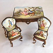 Miniature Painted Porcelain Table/Chairs - Austria