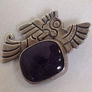 SALE William Spratling Bird Pin with Large Amethyst