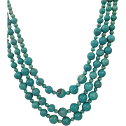 Turquoise Three Strand Necklace 32""