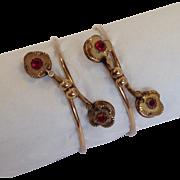 Pair of Victorian Clover Leaf Rose Gold Bangle Bracelets