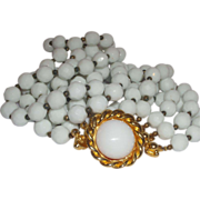 SALE Vintage Signed Jose and Maria Barrera Choker Necklace White Milk Bead Collar