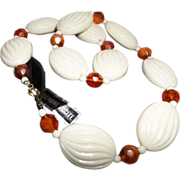 """SALE Vintage Cream and Faux """"Amber"""" Lucite Necklace with Hang Tag"""