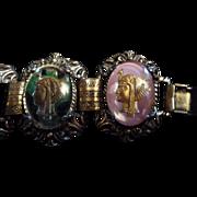 SALE Vintage Egyptian Goddess Portrait Link Bracelet