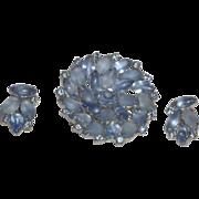 Vintage Juliana Frosted Blue Rhinestone Brooch with Earrings