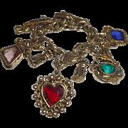 SALE Vintage Charm Bracelet With Faceted Glass Stones