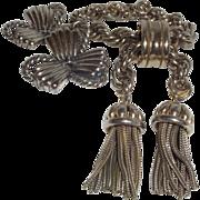 Vintage Signed Schiaparelli Tassel Bracelet and Trefoil Earrings