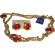 Vintage Signed with Original Eisenberg Tags Necklace and Earrings with Ruby Red Cabochon Stone
