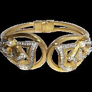SALE Vintage Signed Prometheus Rhinestone Clamper Bracelet