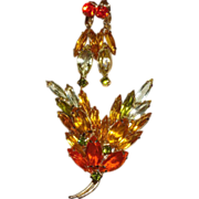 SALE Vintage Designer Quality Brooch and Earrings in Autumn Colored Rhinestones