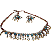 SALE Vintage Unsigned Kramer Nile Blue Rhinestone Necklace and Earrings