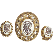Vintage Signed Florenza Victorian Revival Cameo Brooch and Earrings