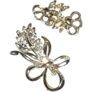 Vintage Signed Pell Brooch and Earrings in a Rhinestone Leaf Motif