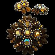Vintage D&E Juliana Bronze Colored Rhinestone Brooch and Earrings Set