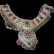 Vintage Ethnic Superb Silver Tone Ruby/Emerald Necklace