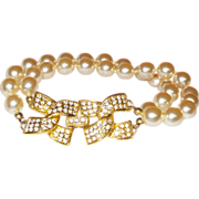Signed Kenneth Jay Lane Double Strand Simulated Pearl Bracelet