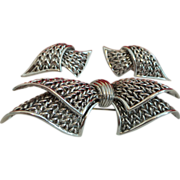 Vintage Signed Boucher Bow Brooch and Earrings