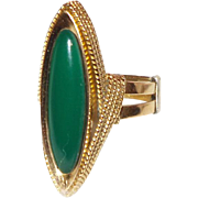 SALE Vintage 18K Yellow Gold Green Onyx Ring