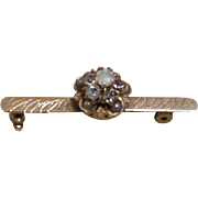 Vintage Victorian Revival Gold Filled Bar Pin with Rhinestones