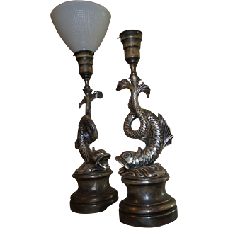 SALE Vintage French Made 1920's Pair of Dolphin Shaped Lamps In Silver Tone Metal
