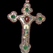 VIntage Ethnic Cross with Semi Precious Stones