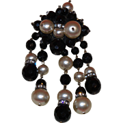 Victorian Revival French Jet and Faux Pearl Brooch