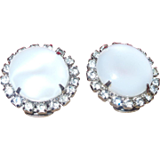 Vintage Large Givre' Glass and Rhinestone Clip Earrings