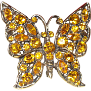 Vintage Unsigned Weiss Topaz Butterfly Brooch