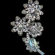 Unsigned Weiss Triple Flower Rhinestone Vintage Brooch