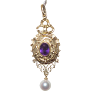 Antique Victorian/Edwardian Pendant with Amethyst and Cultured Pearl Drop