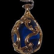 Joan Rivers Blue Glass Rococo Egg Pendant