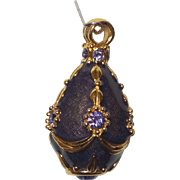 Joan Rivers Guilloche Enamel Russian Style Egg Pendant