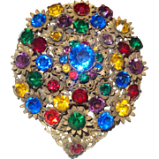 Large Unsigned Art Deco Dress Clip with Multi Colored Rhinestones