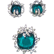 """Signed Sarah Coventry """"Holiday Ice"""" Brooch and Earring Set"""