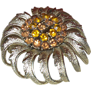 Vintage CORO Pegasus Topaz Rhinestone Flower Brooch
