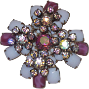 Unsigned Schreiner Brooch in White Milk Glass with Givre Glass and Rhinestones
