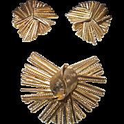 Rare Signed Henkel and Grosse Gold Tone Brooch Set for Dior