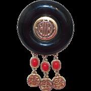 Vintage Bakelite Oriental Motif Brooch Signed Mandle
