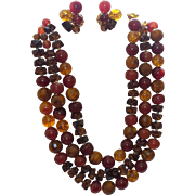Signed Hattie Carnegie Triple Strand Faux Amber Necklace and Earrings